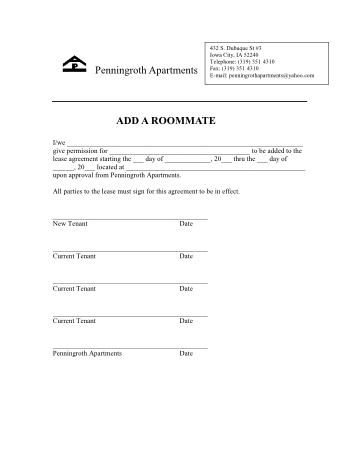 Penningroth Add Roomate Form