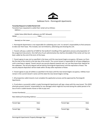 Penningroth Sublease Form
